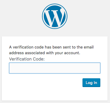 Example of WordPress Verification Code page
