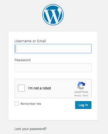 Example of WordPress Login page