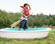 Clueless man on row boat