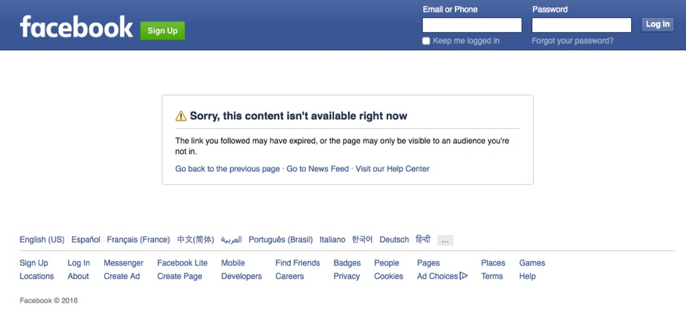 Example of Facebook business page that wont display without user being logged in due to restriction settings.