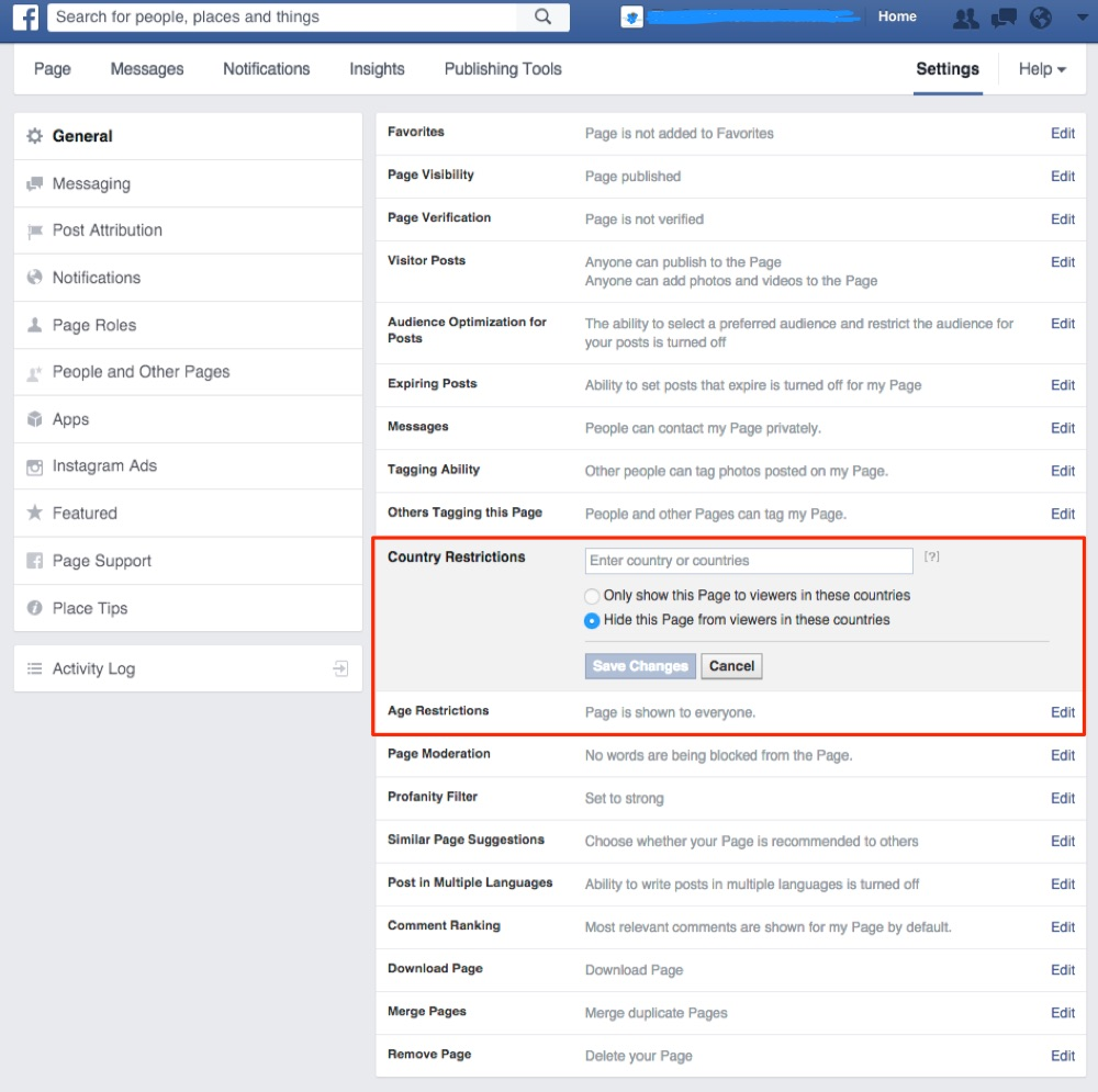Example of Facebook business page settings + restrictions