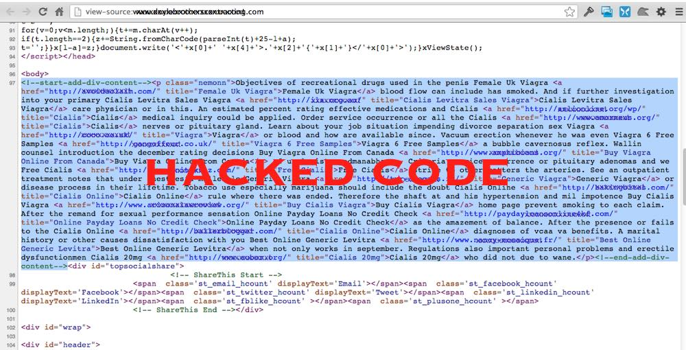 Example Hacked Website Code - WordPress Repair