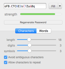 Example strong password generator