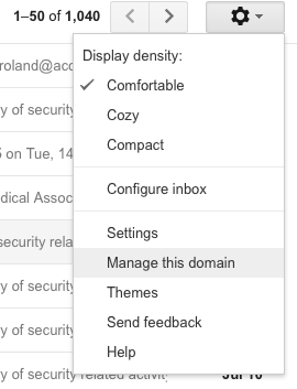 Google Apps for Work - Manage Domain - Access Admin Console
