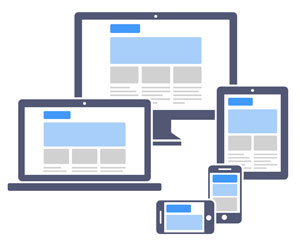 A mobile responsive website layout will reorganize to fit different device screen sizes and orientation.