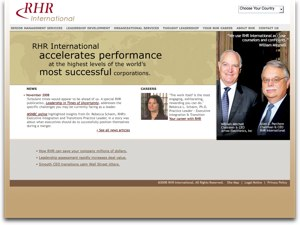 RHR International website screenshot