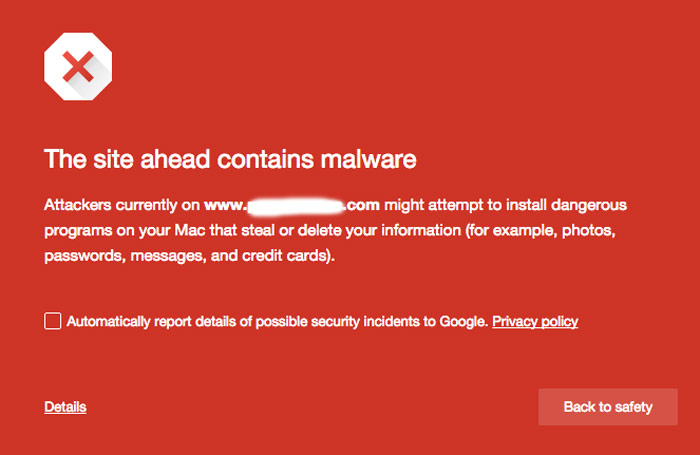 Web browser malware warning