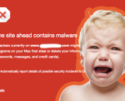 Web browser malware warning - Yikes, an upset baby is staring at you. Wow, she does not happy at all.